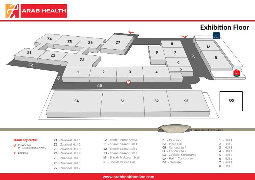 Arab health 2018 location international convention exhibition centre download overview map gumiabroncs Image collections